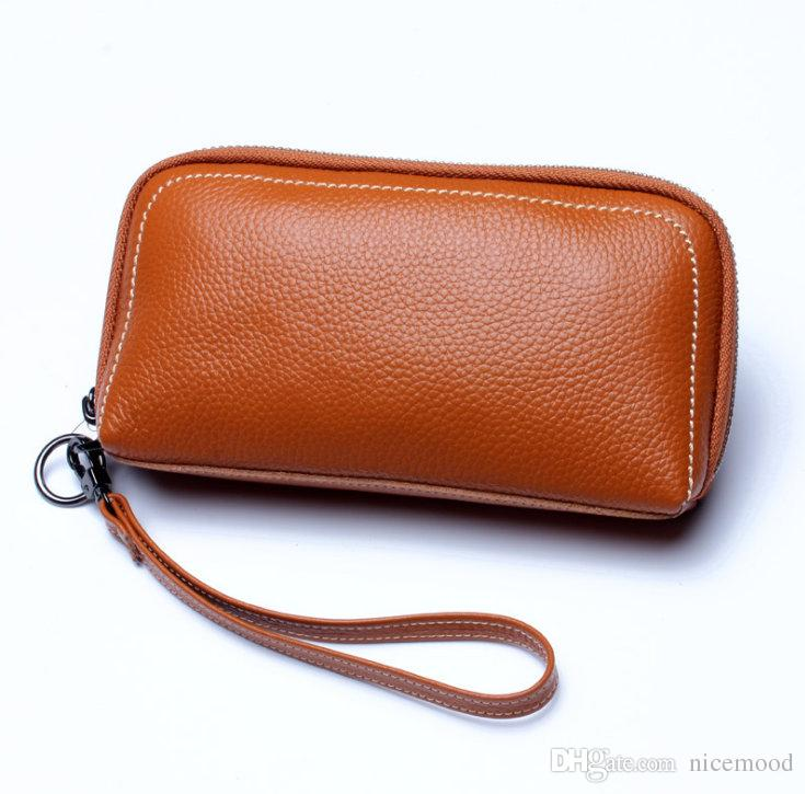 Hot! Woman Genuine Leather Wallet High Quality Designer Long Purses Luxury Cosmetic Bag Coin Pouch WA071