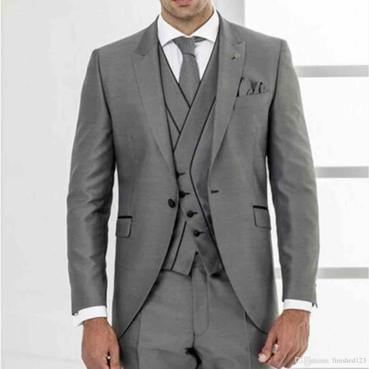 691ee3f0ac Customize One Button Gray Groom Tuxedos Peak Lapel Groomsmen Mens Wedding  Business Prom Suits Jacket+Pants+Vest NO 1368 Tuxedos Mens Blazers From ...