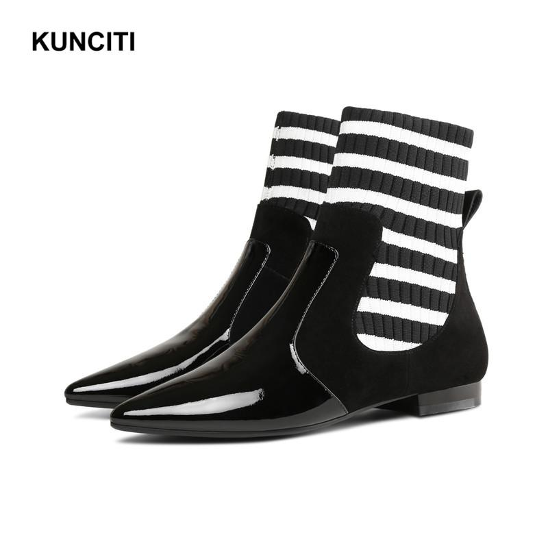 8e7f8b2ea07 KUNCITI Black Ankle Boots 2018 Women Knitted Shoes Patent Leather Low Heel  Martin Boots Ladies For Autumn Pointed Toe D181 Mid Calf Boots Womens Ankle  Boots ...