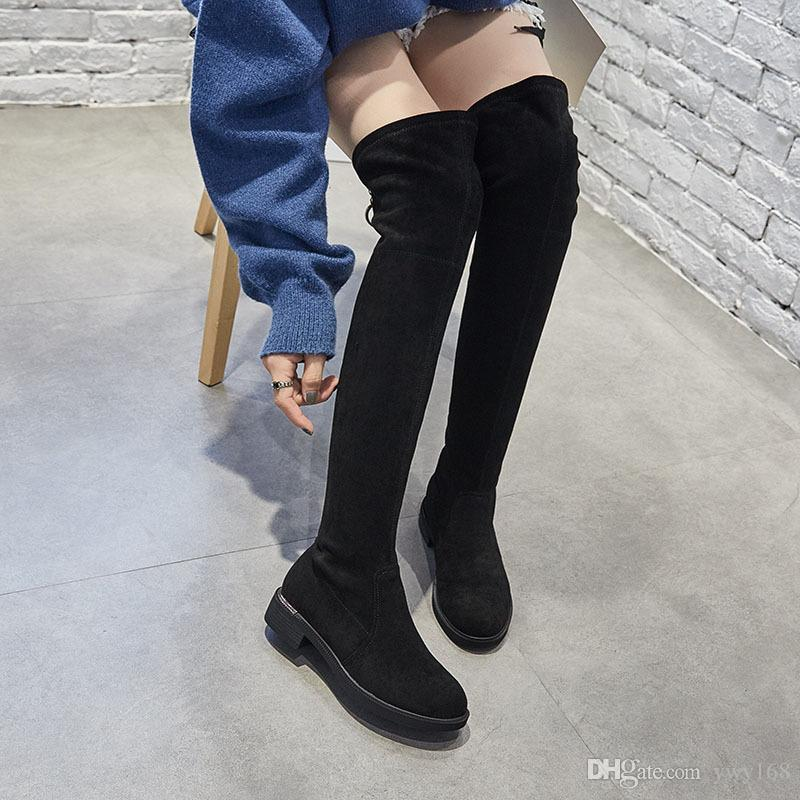 2018 autumn and winter Korean version of new style knee length suede boots, metal buckle shoes, and elastic boots. T072