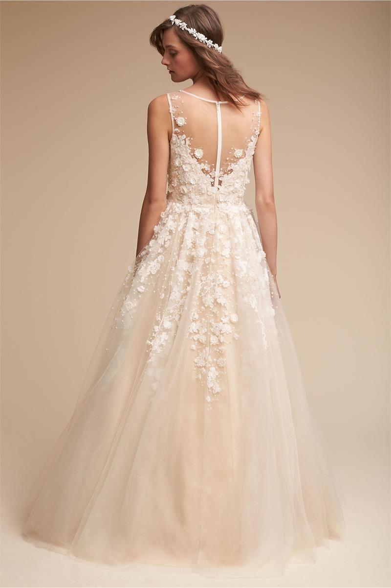 2018 новые BHLDN Bohemia свадебные платья шампанское тонкий кружева аппликация глубокий V шеи пляж свадебные платья иллюзия плюс размер свадебное платье