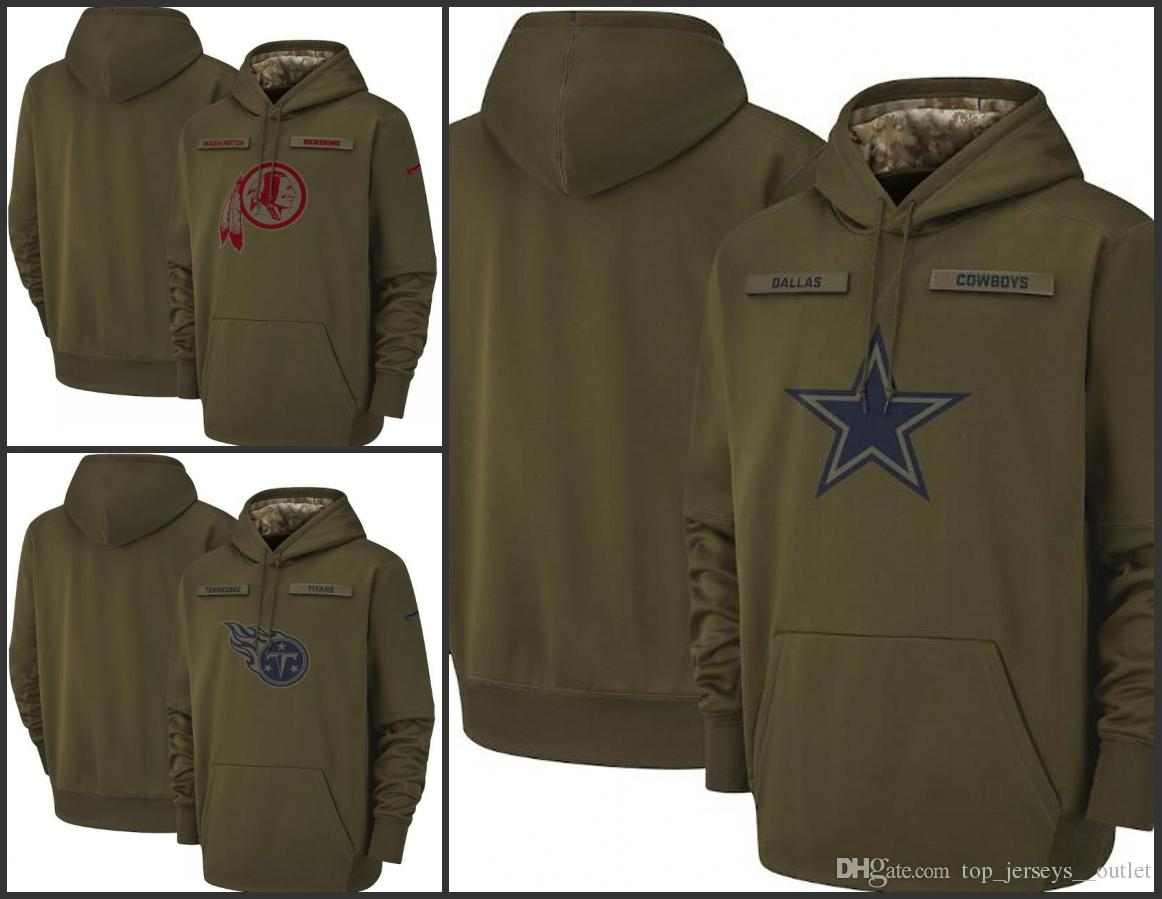 best service bfa6e 3ace0 Men Washington Redskins Dallas Cowboys Tennessee Women Titans Salute to  Service Sideline Therma Performance Pullover Hoodie