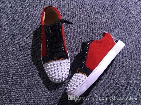 Luxury Spikes Toe Red Bottom Sneakers Low Cut Walking Fashion Outdoor Rivets Trainers Casual Flats High Quality Men & Women Leisure