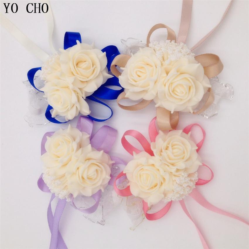 fa22a2fd41b81 10 Teile / los Handgelenk Corsage Brautjungfer Schwestern Hand Blumen  Künstliche Braut Blumen Für Hochzeit Dekoration