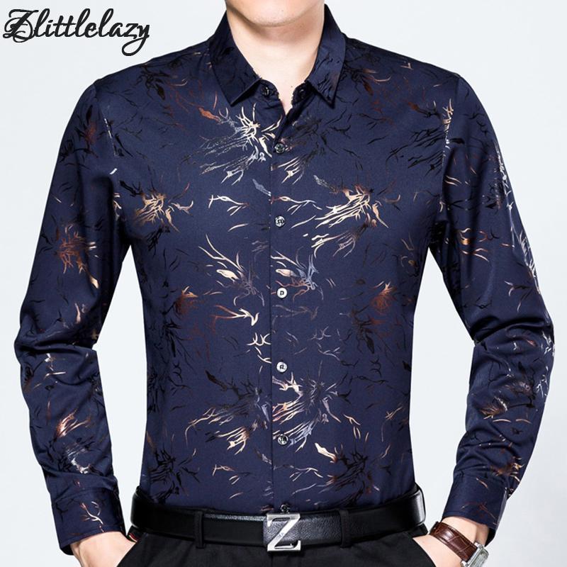 0e36533b00 2018 slim fit casual caldo inverno camicia uomini camisa sociale masculina  fiore moda uomo vestito camicie abbigliamento jersey 9009