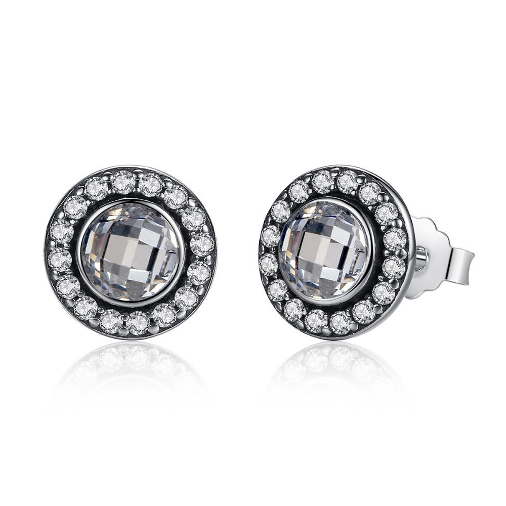 91ca358251edb wholesale Genuine 100% 925 Sterling Silver Stud Earrings pave Crystal For  Women Luxury Jewelry Wedding Authentic Gift