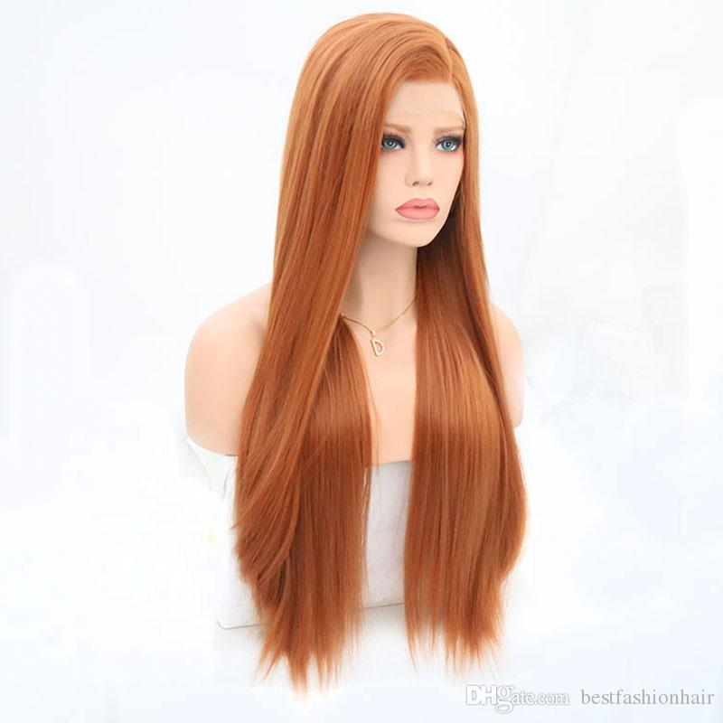 Synthetic Hair Lace Front Wigs Side Part Orange Glueless Long Straight Lace Front Synthetic Wigs For White Women