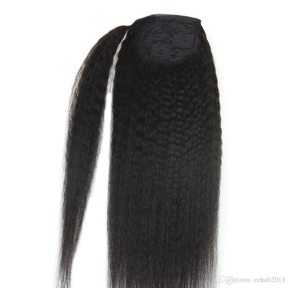 "Brazilian Kinky Straight Yaki Human Hair Ponytail Extensions Natural Black 1b clip in drawstring poney 12-24inch (14"") free ship 100g-160g"