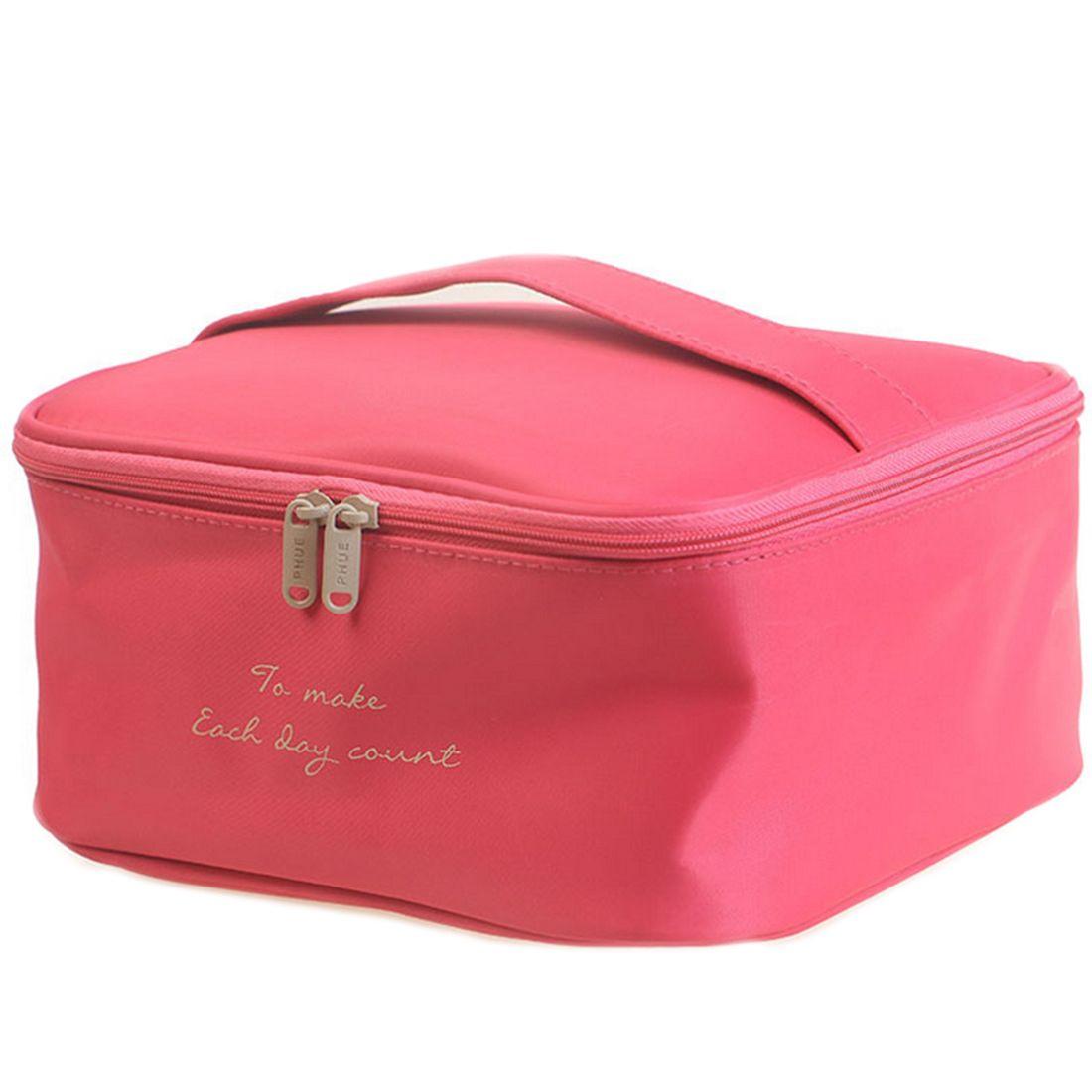 HIPSTEEN Borsa portatile grande capacità di Oxford EVA Donna Borsa cosmetica trucco Borsa da viaggio Borsa cosmetica Bambina - Rosy Red