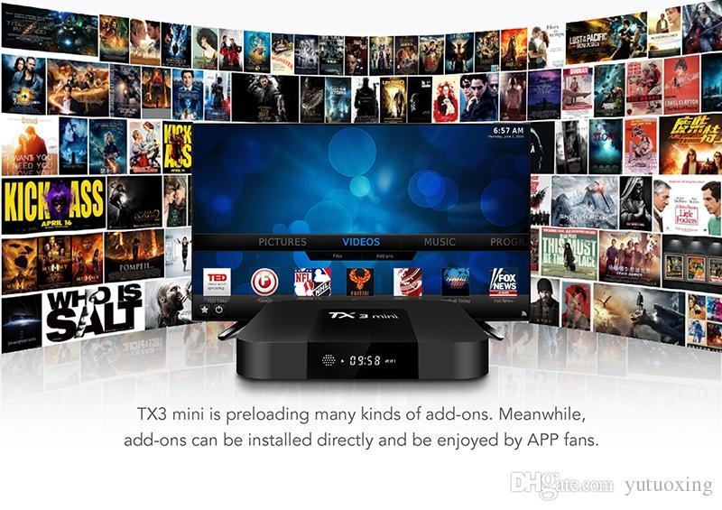 TX3 Mini Caixa De Tv Android 7.1.2 Amlogic S905W 1 GB 8 GB 17.6 Media Player com I8 Kerboard Fly Air Mouse