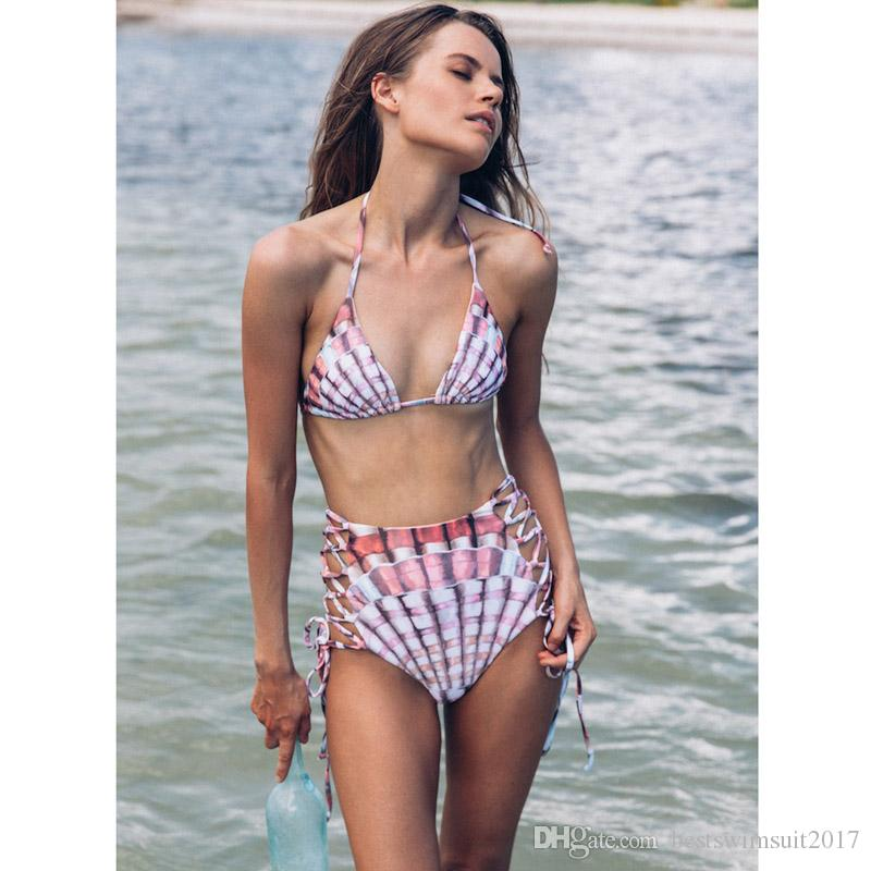 0d68c1811b8 2019 2018 Sexy Brazilian Bikinis Bandage Swimwear For Women High Waist Swimsuit  Push Up Bikini Set Female Print Beachwear Biquini Bathing Suit From ...