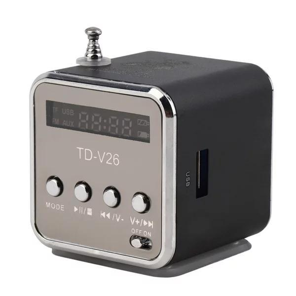 TD-V26 Digital portable Mini Speaker MP3 Player USB Disk Micro TF Player FM Radio FM For iPhone PC MP3 /4 with LCD Screen