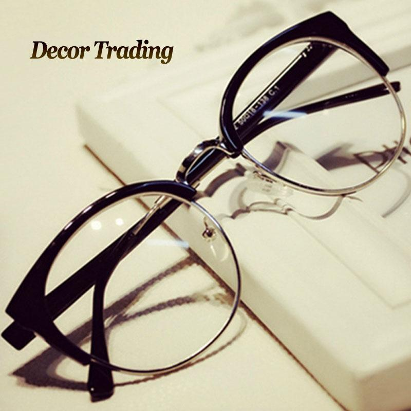 4dae5ae0b6b Fashion Cat Eye Half Metal Frame Glasses For Women Men Retro Vintage Unisex  Glasses Big Frame Slim Face Eyewear 29417 Custom Sunglasses Heart Shaped ...