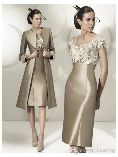 Modest Lace Appliqued Mother Of The Bride Dresses Long Jacket Cap Sleeves Square Neck Wedding Guest Dress Knee Length Plus Size Formal Gowns