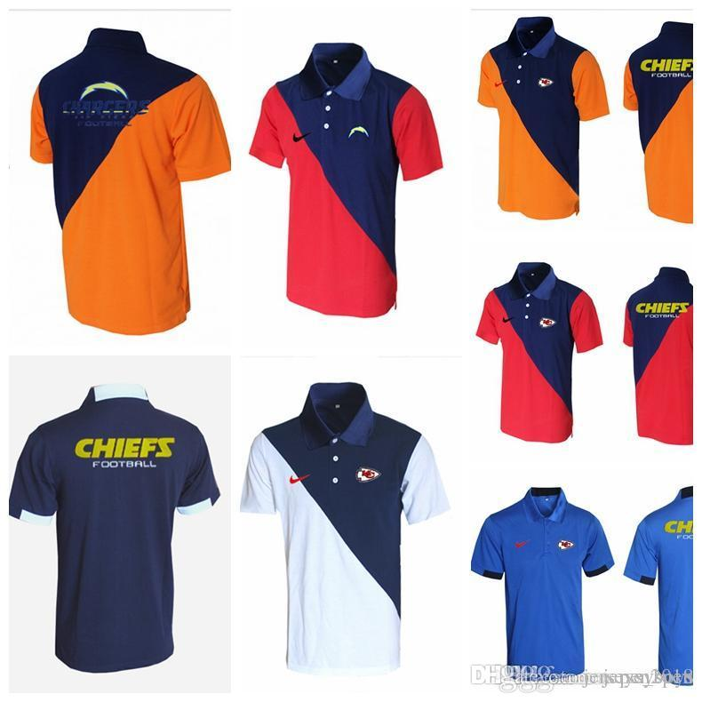 new york 34f7b ee4ac 2018 Men's T shir Kansas City Chiefs Green Bay Packe Los Angeles Chargers  Evergreen Polo Various types of color splicing Navy Jerseys