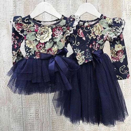 5692f9c3e12c3 Emmababy Little/Big Sister Dresses Infant Baby Girl Floral Party Dress  Family Matching Outfits