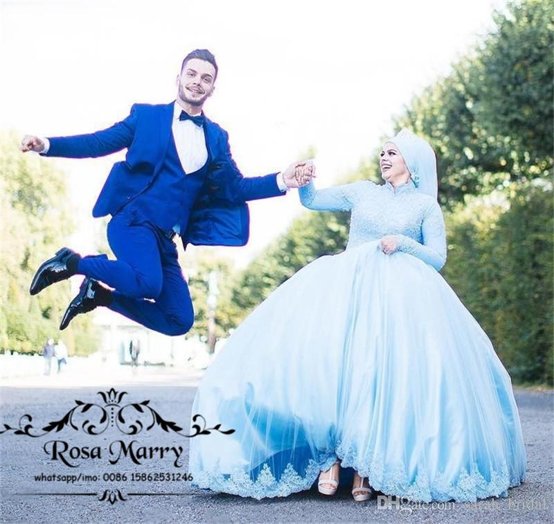 b99893440c Islamic Hijab Ball Gown Lace Wedding Dresses 2018 High Neck Long Sleeves  Plus Size Kaftan Abayas Nigeria Muslim Country Cheap Bridal Gowns Wedding  Gown ...