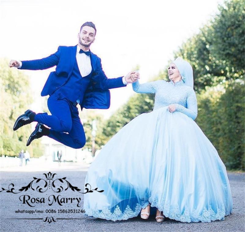 Vestido de bola islámico Hijab Vestidos de novia de encaje 2020 Cuello alto Mangas largas Tallas grandes Kaftan Abayas Nigeria País musulmán Vestidos de novia baratos