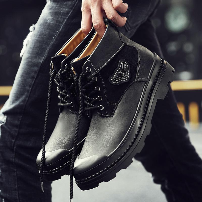 970916fbe3404 Men S Casual Shoes Autumn Winter Trend Brand Fashion Martin Boots  Motorcycle Boots Work Desert Boot High Shoes Male S Footwear Mid Calf Boots  Womens Ankle ...
