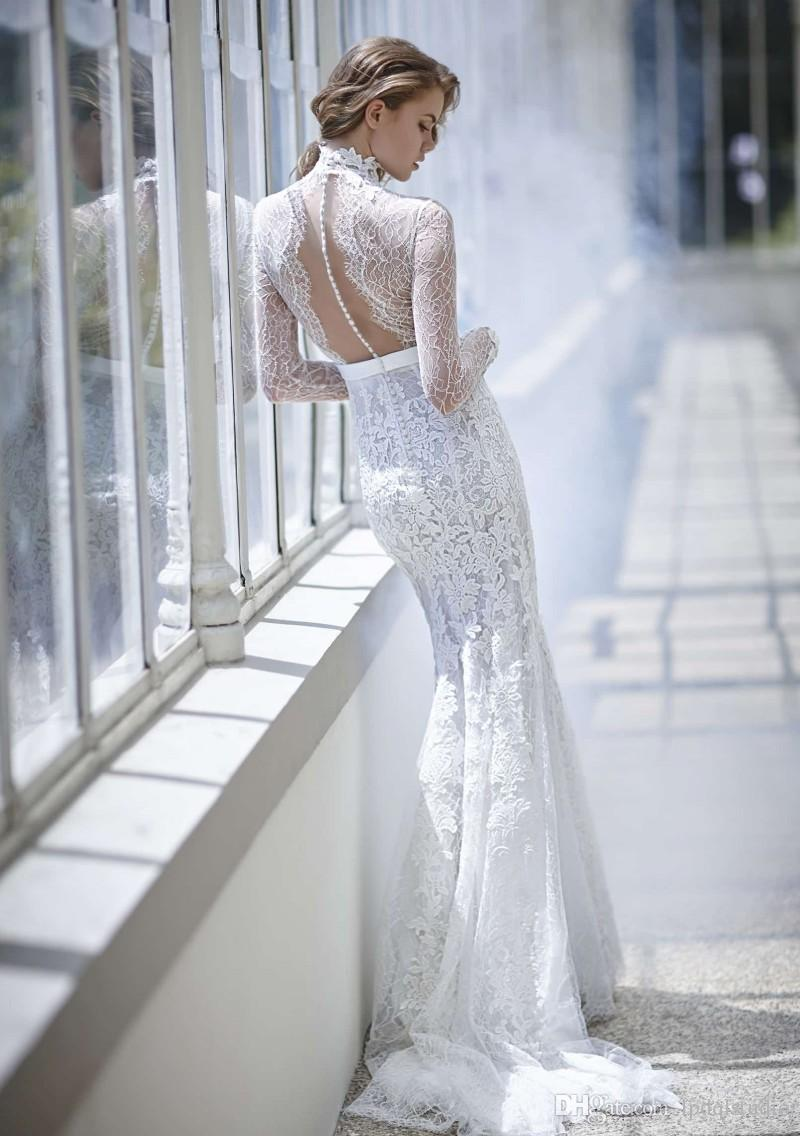 Stunning Lace Mermaid Wedding Dresses Long Sleeves Buttons Back Sweep Train Lace Bridal Gowns European Style Elegant Wedding Dresses