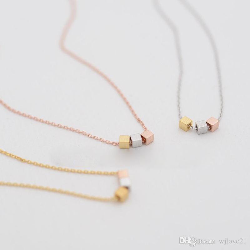 Fashion three color square necklaces mix color design three color combinations pendant necklaces three square necklaces
