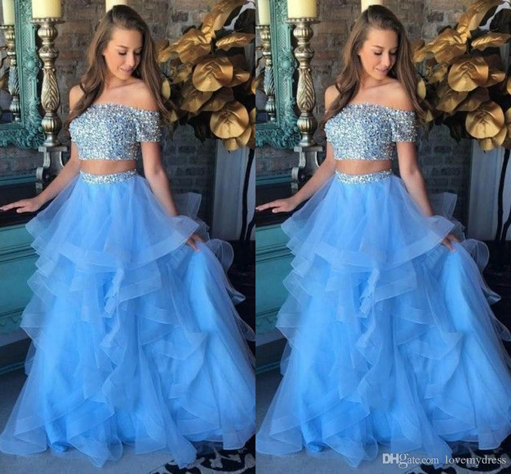 714ed7740c Baby Blue Ruffles Two Piece Sweet 16 Girls Dresses Prom Dress Off The  Shoulder Short Sleeve Beaded Crystal Backless Quinceanera Dress