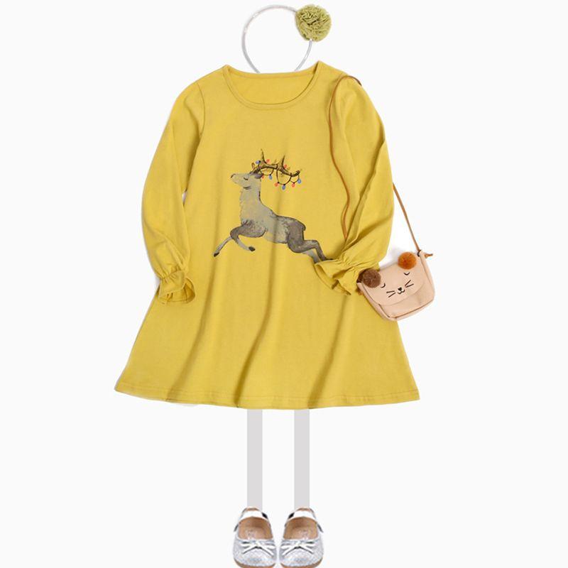 2017 Automne Filles Robe Casual Deer Imprimer Enfants Robes Pour Les Filles En Coton Princesse Costume De Noël Infant Enfants Vêtements