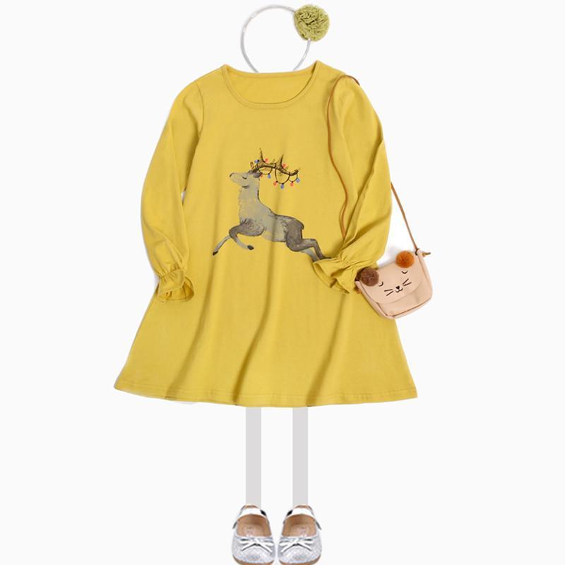 2017 outono meninas dress casual veados impressão crianças vestidos para meninas de algodão princesa traje de natal infantil roupas infantis