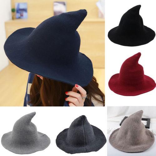 miglior prezzo un'altra possibilità dopo Cappello da strega moderno delle nuove signore delle donne fatto dalla lana  di pecora alla moda Cappello della strega di Halloween Cos Caps Ragazze ...