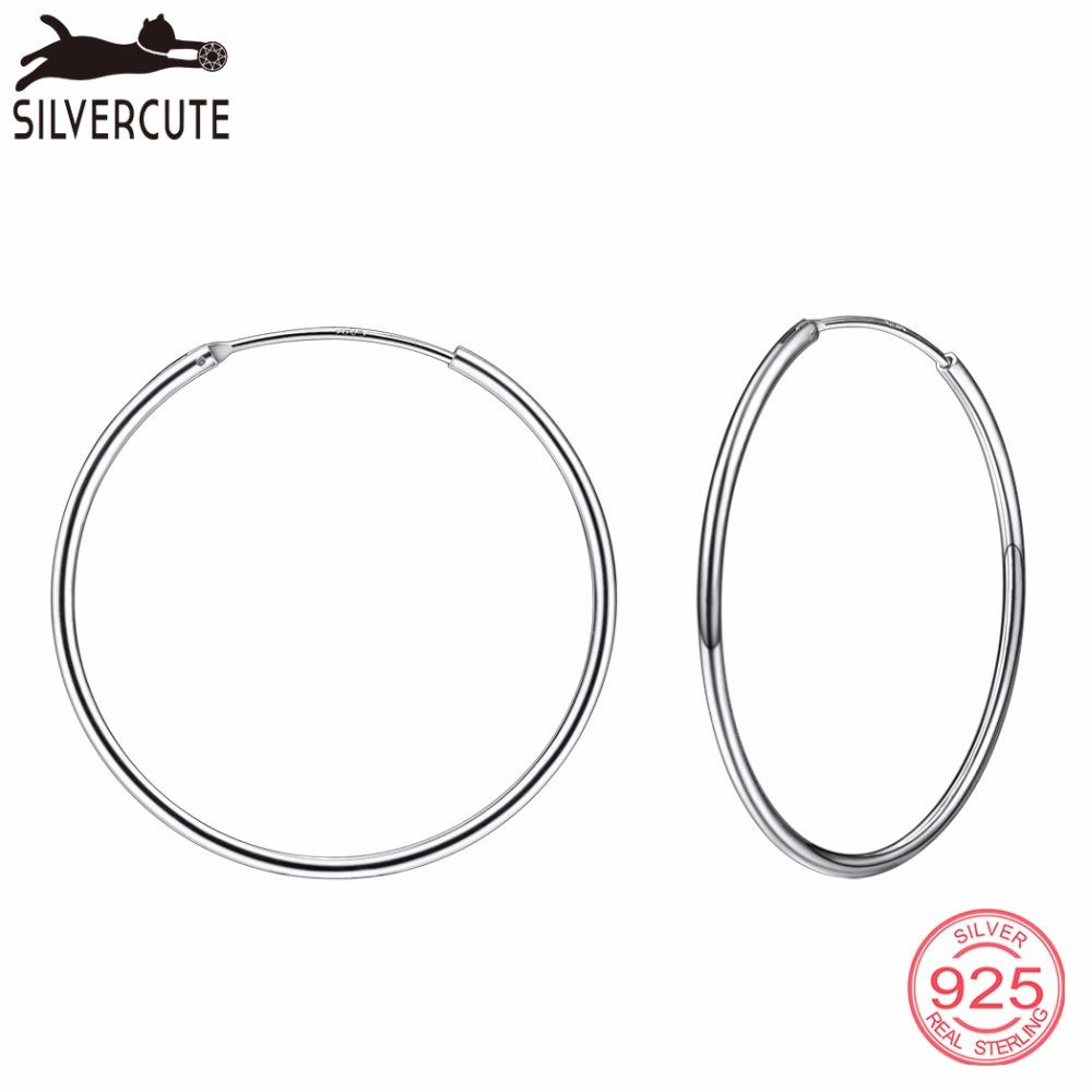38eb2e069 2019 Silvercute 40mm*40mm Hoop Earrings For Women 100% Real 925 Sterling  Silver Rose Gold/Gold Color Simple Round Brinco SCE6140B From Qiufenshi, ...