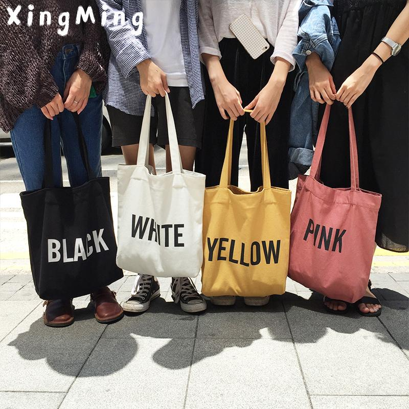 012cf3553067 XINGMING 2018 Ladies Duty Canvas Tote Bag Handmade Cotton Shopping School  Travel Women Folding Shoulder Shopping Bags S920 Recycled Shopping Bags  Large ...