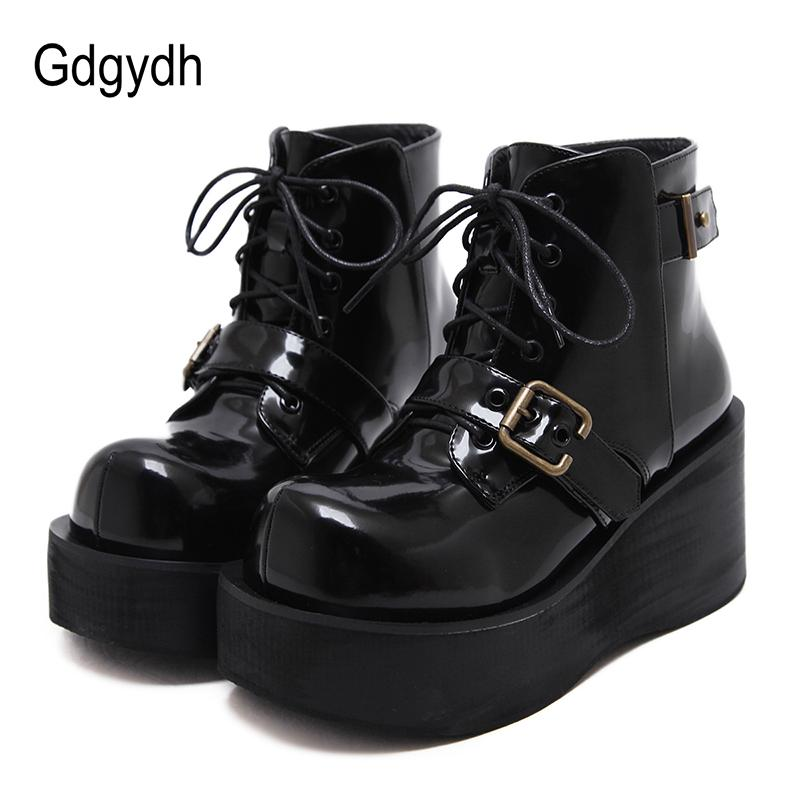Gdgydh Black Spring Autumn Wedges Heel Boots Women Shoes Platform Lace Up  Casual Shoes For School Patent Leather Good Quality Cheap Shoes Online Shoes  For ... aae50f1cfb