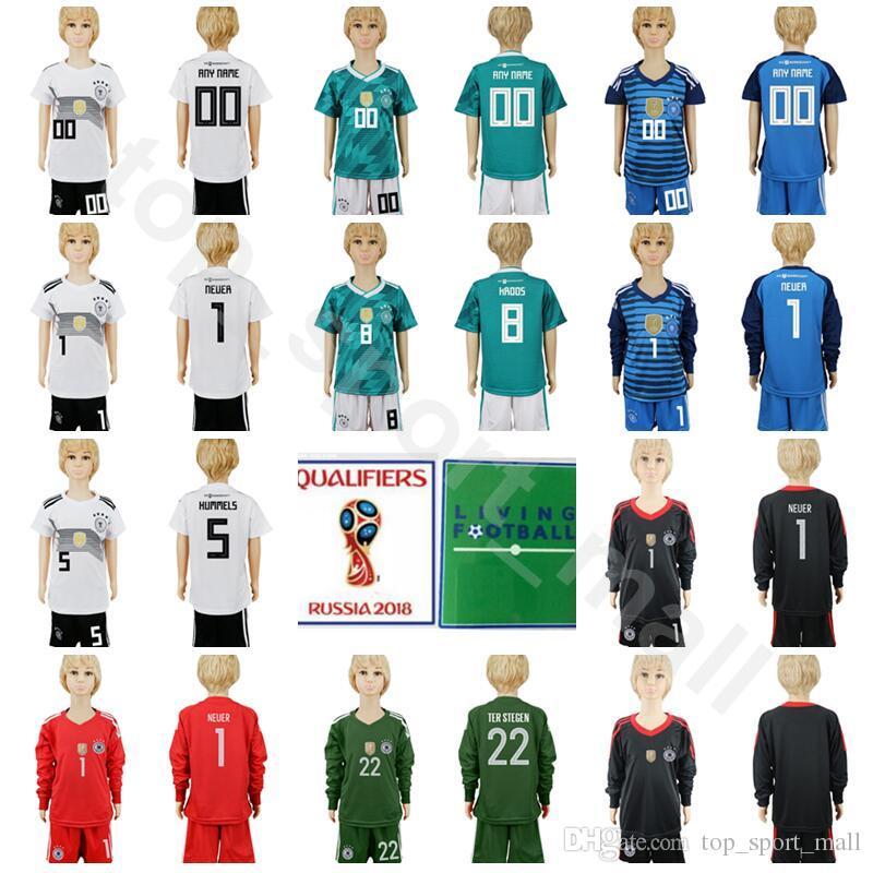 5f9495c5c 2018 Germany Youth Long Sleeve Jersey Set Soccer 5 Hummels 9 Werner 8 Kroos  Gundogan 1 Neuer Goalkeeper Football Shirt Kits Kids 2018 World Cup From ...
