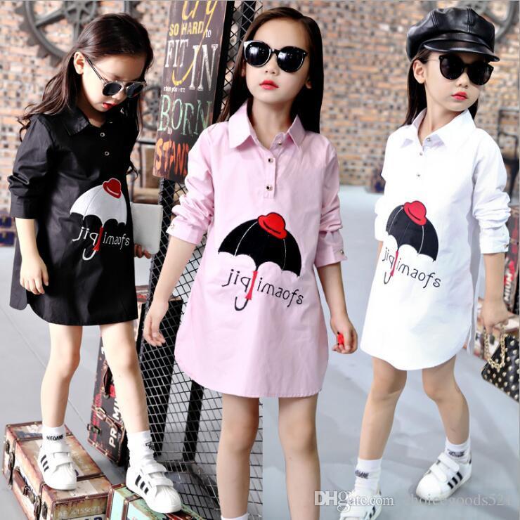 8cf86c421 Kids Shirt Fashion Girl Long Shirt Dress Spring Kids Pullover ...