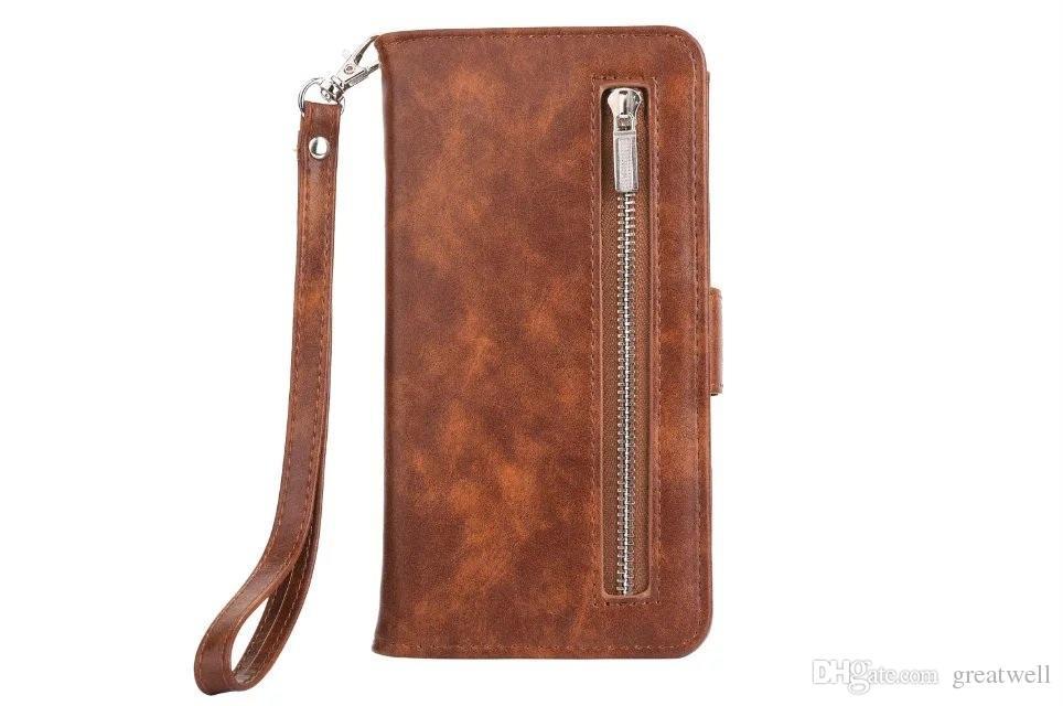 2 в 1 Съемная молния кошелек кожаный телефон крышки случая с ремешком для Iphone 11 Pro Max XS XR 8 7 6S Plus Samsung S8 S9 S10e Plus Примечание 8 9