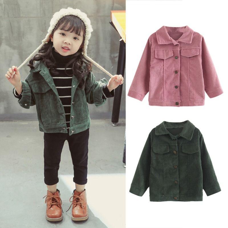 352545cfd Niños niñas otoño chaquetas de pana de manga larga rosa verde fresco cálido  bebé ropa de las muchachas abrigo de prendas de vestir exteriores de ...