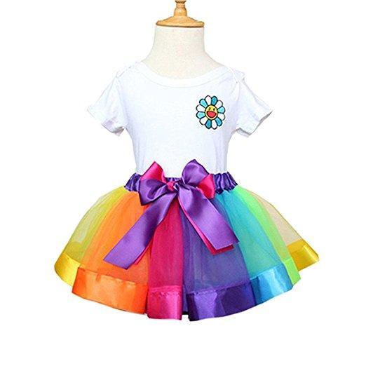 ae73c5eb5 Vestido de falda de tutú de 6 colores para niñas en capas de arcoíris  ballet con gradas