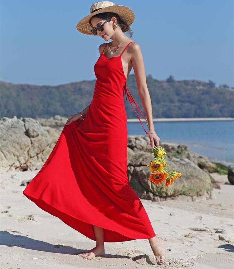 Red Spaghetti Chiffon Beach Wedding Dresses 2018 Summer Bohemian Wedding Dress Backless Bridal Gowns Floor Length