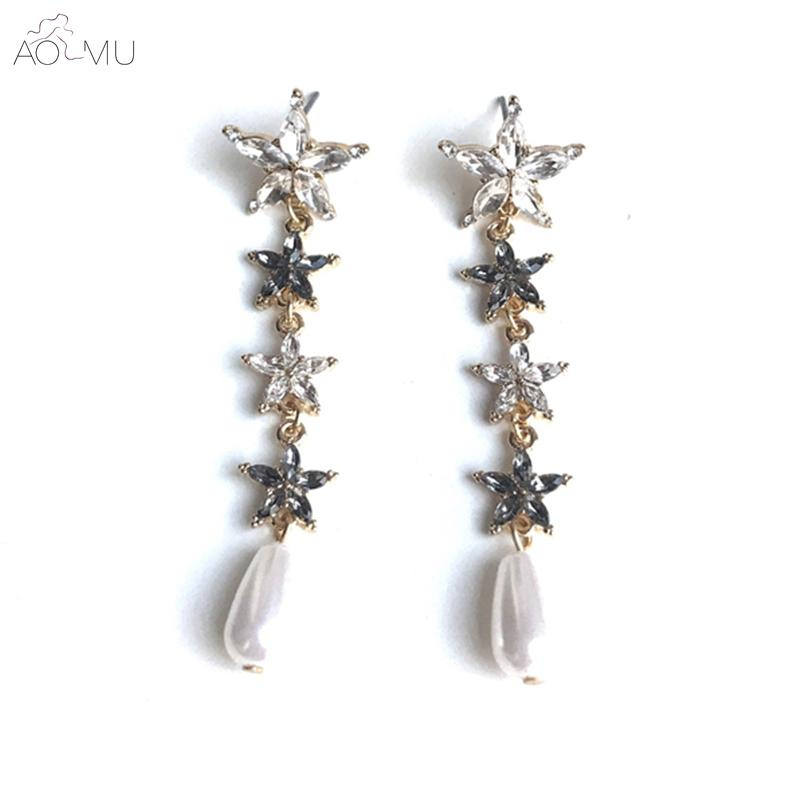 AOMU Korea Blackpink S925 Sterling Silver Shiny Star Crystal Rhienstone  Teardrop Pearl Long Tassel Drop Earrings For Women Party UK 2019 From  Qiufenshuan 23af1069b1