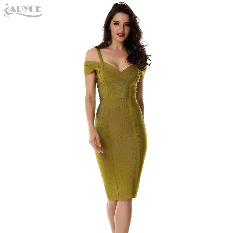 7a3437219d1 2019 2018 Spring Dress Women Party Bandage Dress Olive Green Off The  Shoulder Knee Length Stunning Celebrity Prom Sexy Bodycon From Watchlove