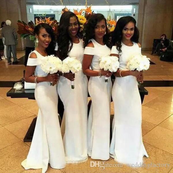 콜드 어깨 새로운 패션 인어 긴 아랍어 신부 들러리 드레스 보석 넥 하녀 명예 가운 공식 해변 웨딩 게스트 드레스
