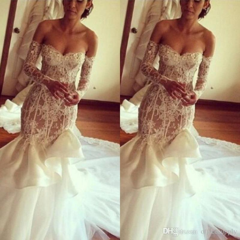 8058604daa6 Sexy Low Sweetheart Lace Mermaid Wedding Dresses Off Shoulder Sheer Long  Sleeves Bridal Gowns Chapel Train Backless Wedding Vestidos Sexy Mermaid  Dresses ...
