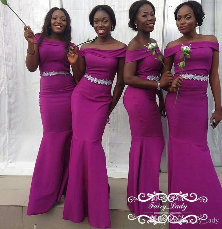 Stylish 2018 Purple Country Bridesmaid Dresses Mermaid Long Off ...