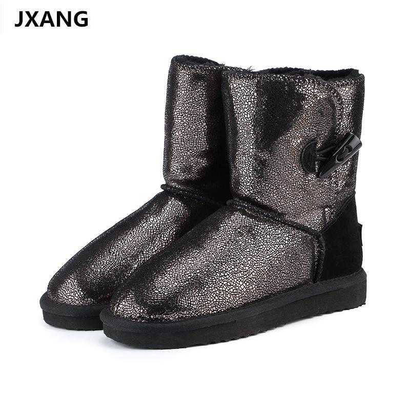 JXANG 2018 Genuine Leather Waterproof Snow Boots for Women Fur ... d31353070507