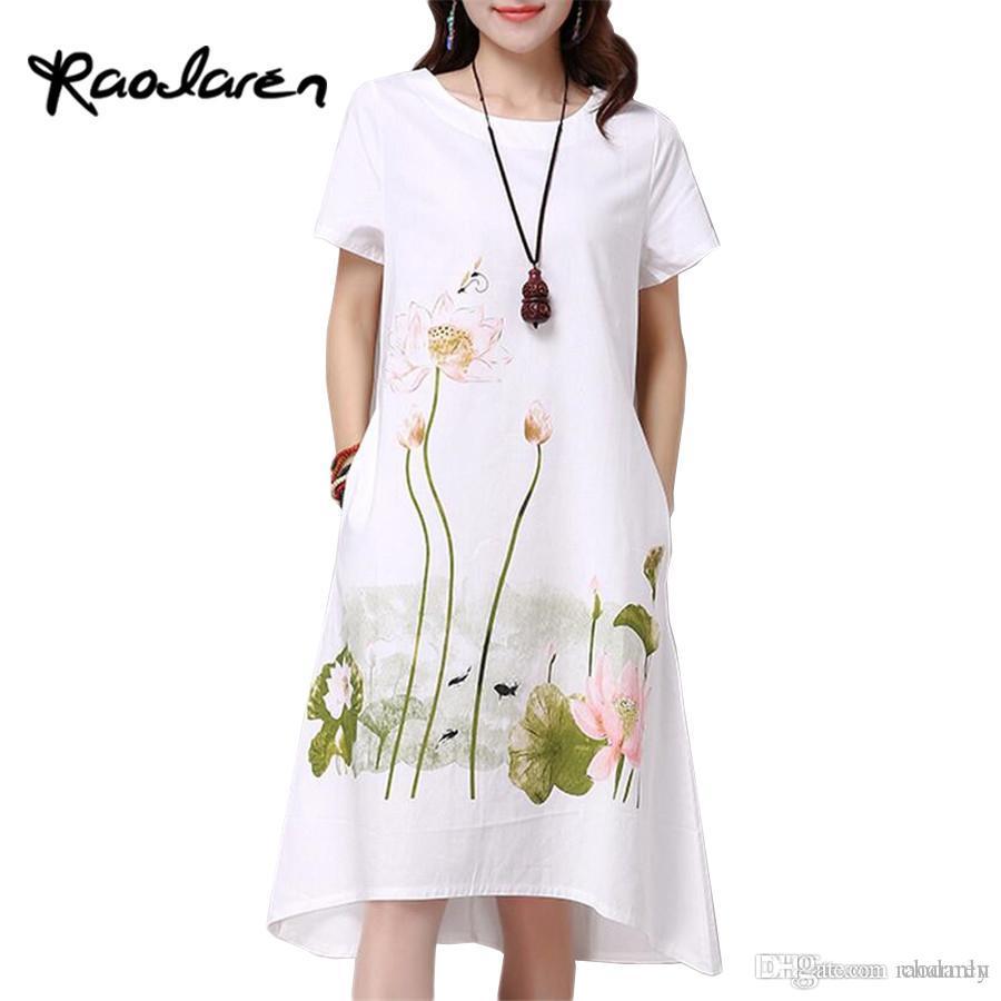 68a2043e8 Raodaren Summer Dress Plus Size Short Sleeve White Women Dress ...