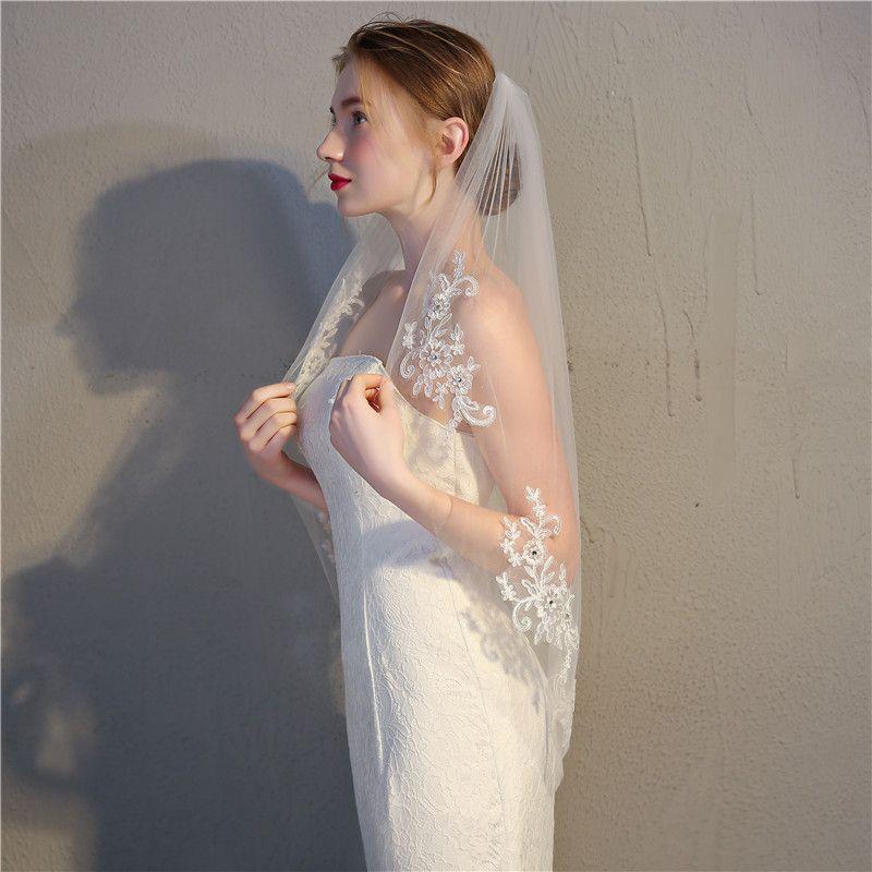 Jane Vini One Layer Weiß Elfenbein Brautschleier Spitze Applique Perle Schleier mit Kamm Brautschleier für Braut Kurze Luxus Hochzeit Zubehör 2018