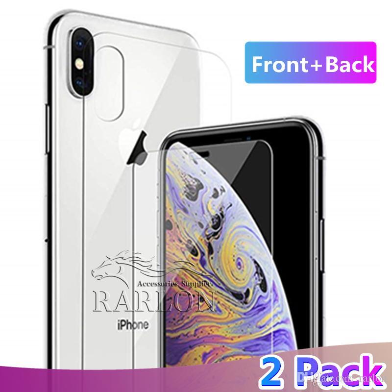 252e2706728 ... Pantalla De Cristal Templado En La Parte Delantera Y Trasera HD Tapa  Trasera Con Dureza Endurecida 9H Para Apple IPhone XS Max XR X 8 7 Plus  Protector ...