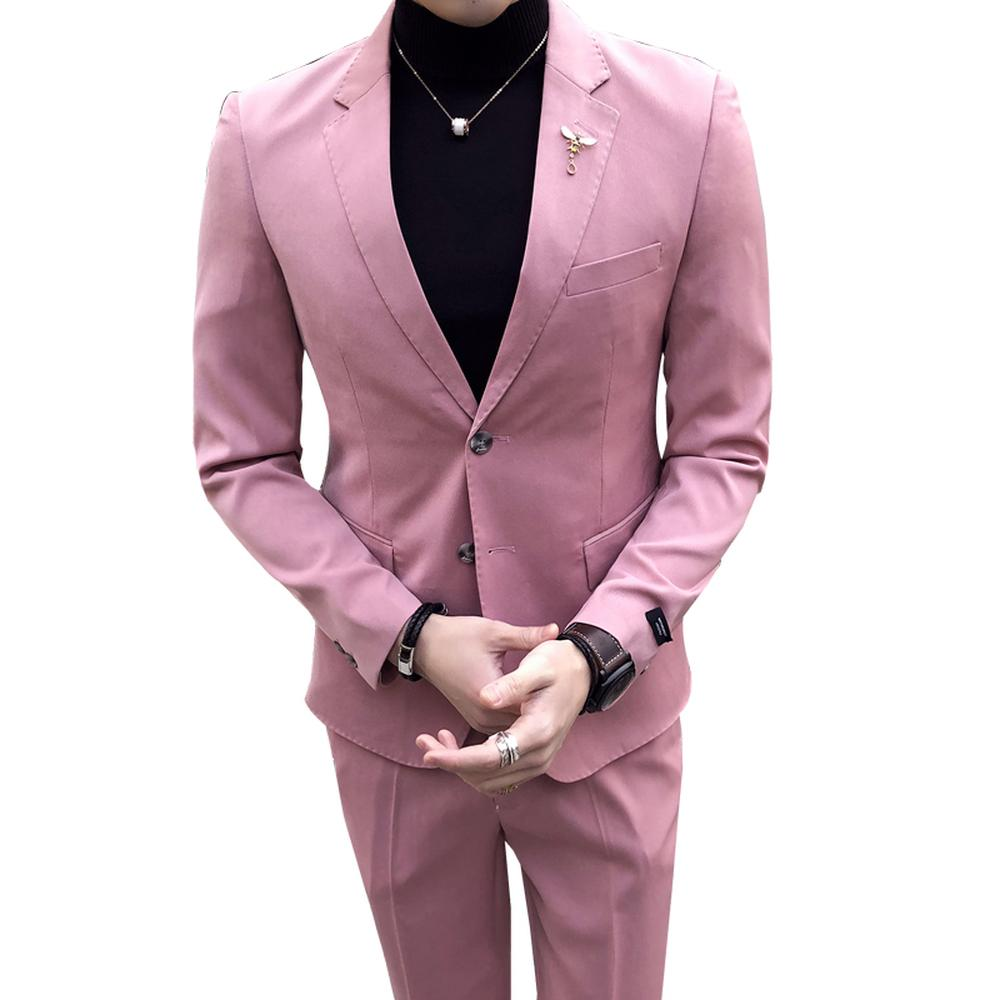 ... De Pantalón De Abrigo Trajes De Novio De Color Rosa Traje De Hombres De Corte  Slim Para Padrinos De Boda Formal Elegante Casual De 2 Piezas De Pantalón  ... 235db41ddbf