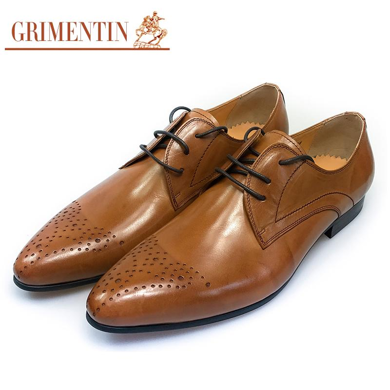 3bb36d228339 GRIMENTIN Brand Vintage Fashion Oxfords Men Dress Shoes Genuine ...