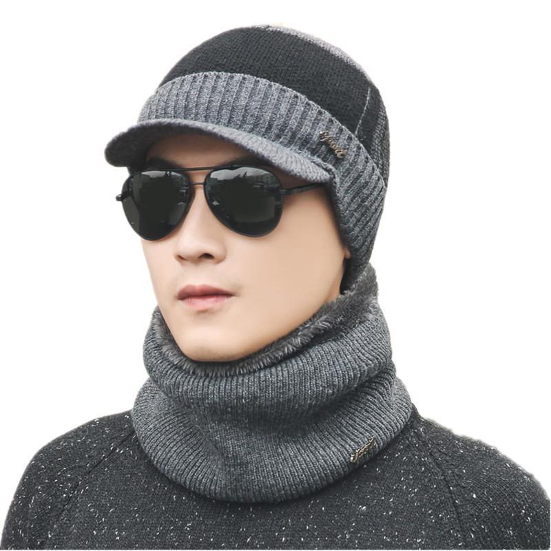 a55158fca35 Warm Set Winter Plus Velvet Hats Scarf For Women Men Thick Cotton ...